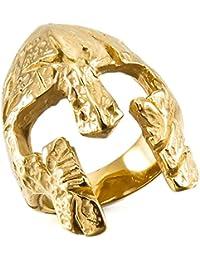 MunkiMix Acero Inoxidable Anillo Ring Oro Dorado Tono Máscara Mask Hombre