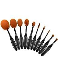 ElleSye 10 PCS Pinceaux Maquillage Ovale, Set Brosse Cosmétique à Dents Professionnels pour les Poudres, Anticernes, Contours, Fonds de Teints, Fard à Paupières et Eyeliner - Rose d'Or