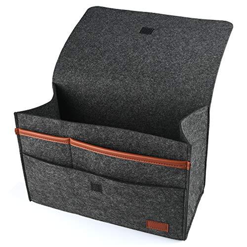 HOGAR AMO 2 in 1 Dicke Filz-Bett-Caddy-Organizer Betttasche Sofa Hängeaufbewahrung für Handy, iPad, Brille, Buch, Spielzeug, Fernbedienung, 31.5x15cm Schwarz