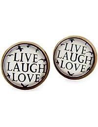 """Miss Lovie Damen Ohrstecker Spruch """"Live Laugh Love"""" Ohrringe Witzig Schwarz Weiß Modeschmuck Schmuck Bronze"""