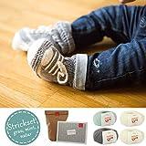 Baby Strickset * DIY Babysneaker grau und grün* Baby stricken Anfänger - Strickset 4 mit Knäuel Merinowolle Baby Wolle - Strickanleitung und GRATIS Label - INKLUSIVE Bamboo Nadelspiel 3,5mm - Set DIY