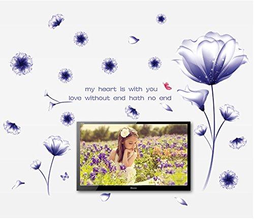 wassaw Purple Dream Blume Hibiscus Blume Bett Schlafzimmer Schlafzimmer Schlafzimmer-Hintergrund Dekorativen Wandaufkleber Einfaches Wasserdicht Kann Sportlandschaft Pflanze Entfernen