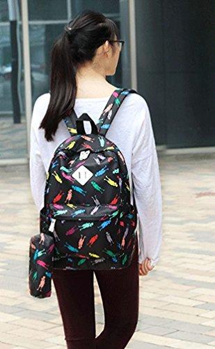 WanYang 3 Pezzi Unisex Laptop Backpack + Borsa + Portafoglio Zaino di Tela Studente Zainetto adolescenti Borsa da Viaggio Backpack Colorato