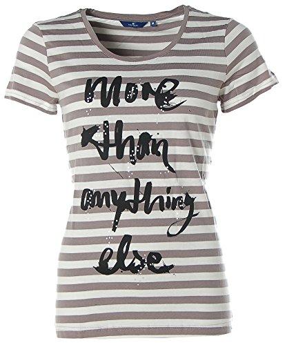TOM TAILOR -  T-shirt - Collo a U  - Maniche a 3/4 - Donna Grigio