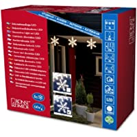 Konstsmide Outdoor Decoration 5 Set of LED Acrylic Snow Flakes with 60 LEDs - Warm White