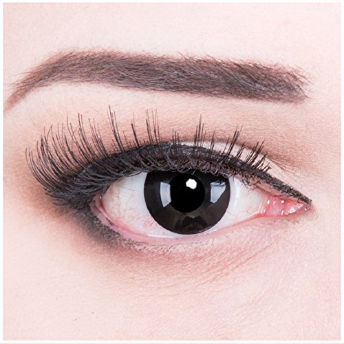 bige schwarze Crazy Fun black out Jahres Kontaktlinsen.Topqualität zu Fasching und Karneval mit gratis Kontaktlinsenbehälter ohne Stärke! (Halloween Horror Make-up Tutorial)