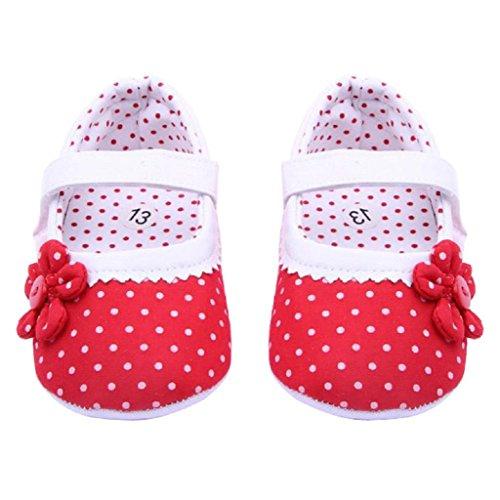 by Mädchen Blume weiche PU-Leder-Schuhe (12, Rot) (Rote Blumen-mädchen-schuhe)