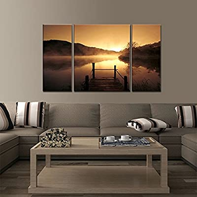 Wieco Art - Modern Landscape Giclee Canvas Prints 3 Panels Misty Lake Bronze Pictures Artwork Paintings on Canvas Wall Art Ready to Hang for Home Decoration Wall Decor
