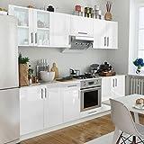 Lingjiushopping Schrank Küche Hochglanz weiß 8Stück 260cm spezifischen Schränke: Hängeelemente Pfannen