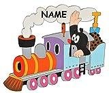 Unbekannt  Der kleine Maulwurf in der Bahn  - incl. Name - Türschild / Wandbild / Wandtattoo - aus HOLZ - Kinderzimmer Eisenbahn Zug Deko Bilder / selbstklebend - für Kinder Mädchen / Jungen