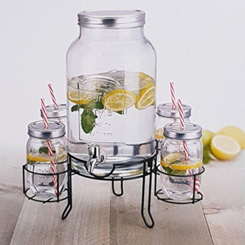 Intrendu® distributore di acqua, distributore di bevande, dispenser con rubinetto, 4.5l con vetro 4x con coperchio e cannuccia