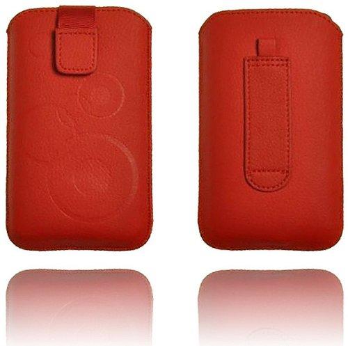 Deko Slim Case Rot für Sony Mobile Xperia tipo dual Handytasche Ledertasche Etui Schutz Hülle Handy Leder Tasche Holster Schützhülle