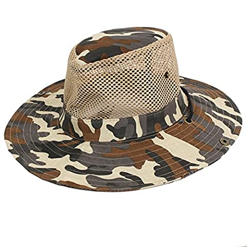 Men Wide Full Brim Brown Black Camouflage Mesh Design Fishing