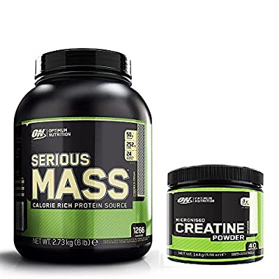 Optimum Nutrition Serious Mass Weight Gain Powder, Cookies and Cream, 2.73 kg with a 144g Tub of Creatine from Optimum Nutrition