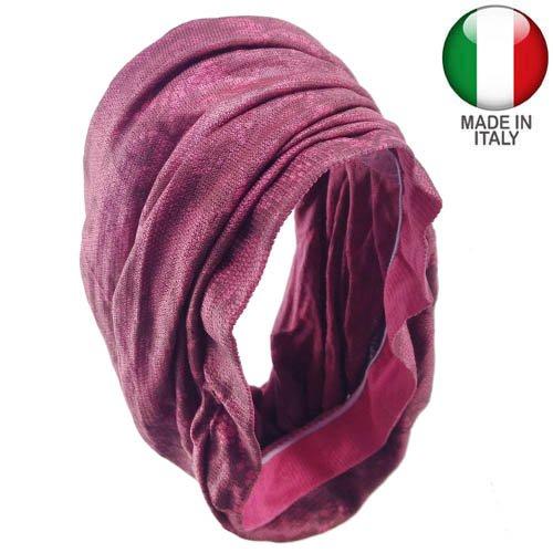 kxx-893 – Bandeau cheveux microfibre Bandana fantaisie dentelle – Made in Italy – Bandeaux pour Cheveux fuchsia