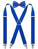 Alizeal Palos-Tirantes con 4 Clips y Pajarita para Hombre Azul Klein