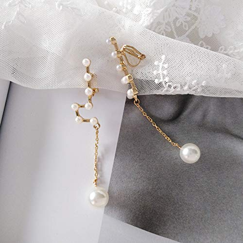 Chwewxi Japanische und koreanische Mode Konstellation Ohrringe Ohrringe einfache Wilde Lange Perle Anhänger Ohrringe Ohrclips, Ohrclip-Modelle