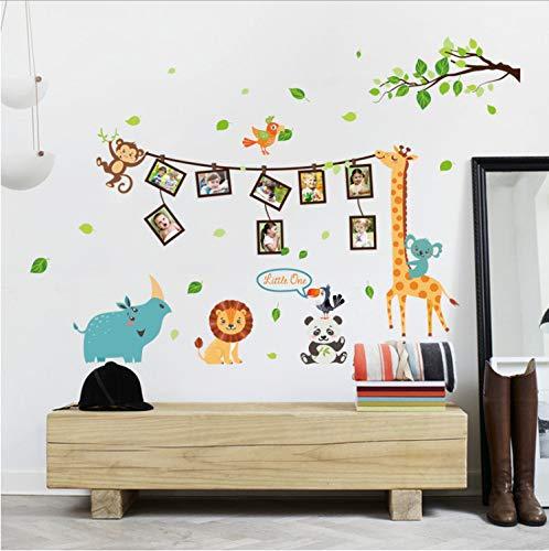 Xqwzm giraffa panda animale foto albero cornice arte adesivi murali per bambini camere cucina vivaio decorazione camera da letto poster fai da te