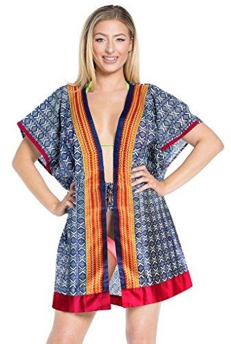 La Leela accappatoio kimono di cotone morbido beachwear coprire le donne più caftano blu navy