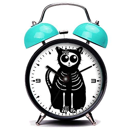 girlsight Blauer Wecker, Nette Katze Süße Halloween Cartoon Katze Skelett Twin Bell Wecker mit Nachtlicht