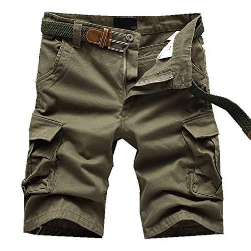 ELETOP Herren Shorts Cargo Sommer Mode Shorts Tarnung Lounge Lässige Shorts Kariertes, Rein Gelb, Gr.- M/ Etikettengröße- 34 (Lounge-set Herren)
