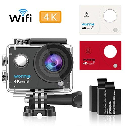 WONNIE Action Kamera WIFI Sports cam 4K camera 16MP Ultra Full HD Unterwasserkamera Verbesserten 170° Ultra - Weitwinkel Sports Kamera mit, 2 Akkus und Kostenlose Accessoires