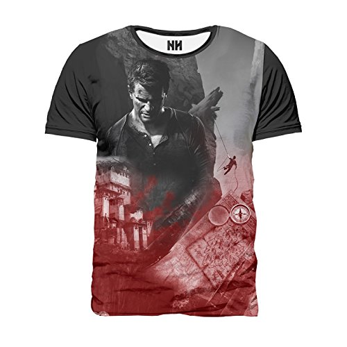 NATHAN DRAKE - Uncharted T-Shirt Man Uomo - Victor Sullivan La Fine di Un Ladro Playstation 4 Naughty Dog