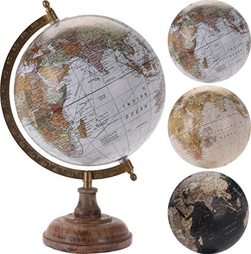 Vintage Globus, 18cm Durchmesser, mit Shabby Holzsockel, Design 1: White