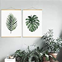 Wsxwga Simple Leaf Hanging Scroll Painting Canvas Posters And Prints Wall Art Wall Pictures For Living Room Nordic Decoration Home