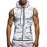 GreatestPAK Herren Camouflage ärmelloses Kapuzenweste Top T-Shirt Weste Bluse,Weiß,XL