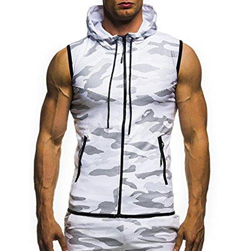 GreatestPAK Herren Camouflage ärmelloses Kapuzenweste Top T-Shirt Weste Bluse,Weiß,XXXL
