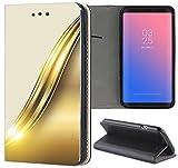 Samsung Galaxy S6 Hülle Premium Smart Einseitig Flipcover Hülle Samsung S6 Flip Case Handyhülle Samsung S6 Motiv (665 Abstract Weiß Gold)