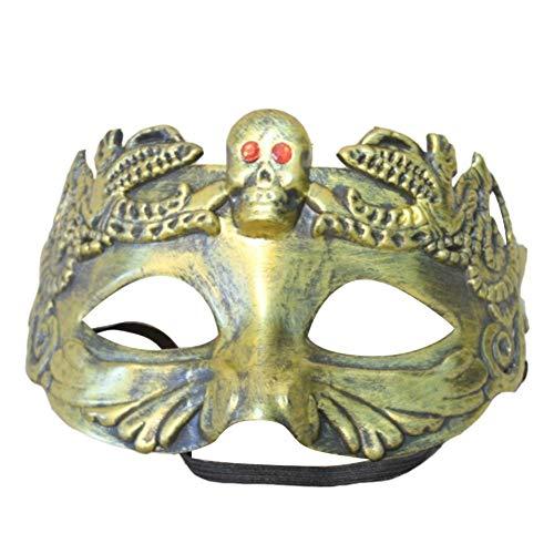 Ball Kostüm Masque - Pangding Halloween Maske, Festival Kostüm Party Cosplay Auge Kleid Ball Relief Masque Dress Up Requisiten(Golden)
