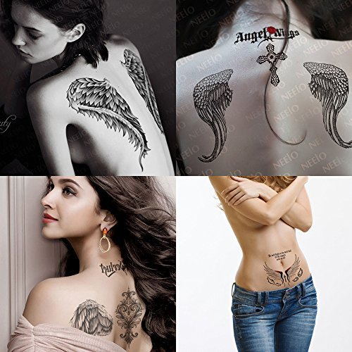 Kotbs 4 Sheets Mix Angel Wings Large Tattoo Sticker for Women Waterproof Temporary Tattoos Paper Body Art Fake Tattoo by Kotbs (Wings Angel Fake)