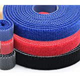 amiciCare Ties Reusable Fastening Tape Hook & Loop Wire Organizer 10mm Set of 3,1 m/roll Each Blue, Black, Red Color