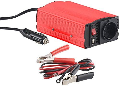 revolt Kfz-Spannungswandler 300 W, 230 V AC, 5 V USB, Peakpower 600 W