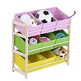 Cocoarm Kinderregal Kinderzimmerregal Spielzeugregal Spielzeugaufbewahrung Aufbewahrungsregal für Spielzeug Ordnungsregal mit Aufbewahrungsboxen Mehrfarbig