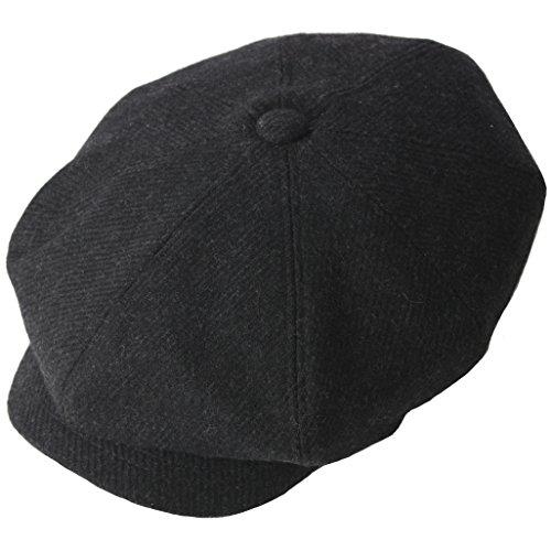 RaOn Winter warm 8 Panel Cabbie flach Golf Fahr Hut für Herren 7 1/8~3/8 7 (57cm ~ 59cm) Schwarz (Fahr-hüte Für Männer)