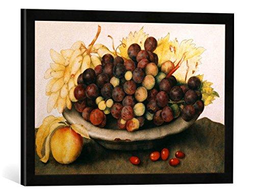 Gerahmtes Bild von Giovanna Garzoni Schale mit Weintrauben und Einer Birne, Kunstdruck im hochwertigen handgefertigten Bilder-Rahmen, 60x40 cm, Schwarz matt - Garzoni Schale