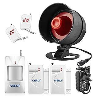 KERUI Standalone Home Office Shop Garage Security Alarm System Kit,Wireless Loud Indoor Outdoor Weatherproof Siren Horn with Remote Control and Door Contact Sensor,Motion Sensor,Up to 110db