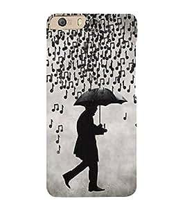 FUSON Musical Notes Rain 3D Hard Polycarbonate Designer Back Case Cover for Micromax Canvas Knight 2 E471