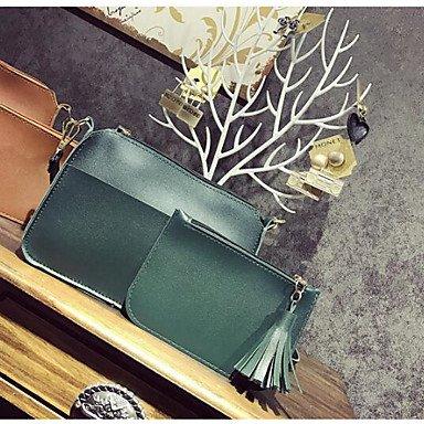 SUNNY KEY-Borsa a tracolla @ Donna Borsa a tracolla PU (Poliuretano) Per tutte le stagioni Casual Rotondi Cerniera Rosso Marrone Arm Green , arm green brown
