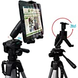 "ChargerCity HDX2 Tablet Video Camera Recording/Selfie Tripod Adapter Mount w/Dual 360° Swivel Adjustment Joint & Universal Tablet holder for 7"" 8"" 9"" 10"" 12"" Tablets for Apple iPad 2 3 4 Air Mini (Retina) Samsung Galaxy Tab 3 4 Note Google Nexus LG G Pad HD Asus Vivo Memo Tab Lanovo ideaPad Yoga Microsoft Surface Slate Pro. (Tablet & Tripod is not included with purchase)"