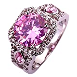 YAZILIND Silver Plated Round Pink Cubic Zircon Wedding Ring Jewelry Size 10