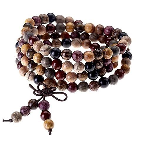 Jovivi 6mm Bois Multicolor Perles Naturels Collier Chaîne Bracelet Tibétain Bouddhiste Buddha Mala Chinois Nœud Élastique