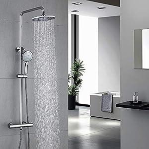 HOMELODY Columna de Ducha Termostatica 40ºC Conjunto de ducha Redondo Altura 829mm-1221mm Ducha de Lluvia 3 Tipos Ducha…