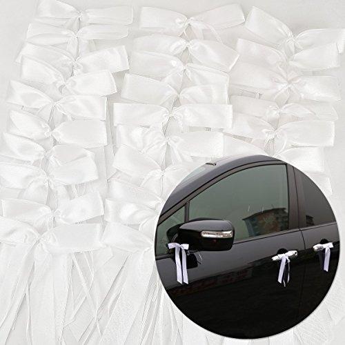 Satin Autoschleifen | 50 Stück, weiß