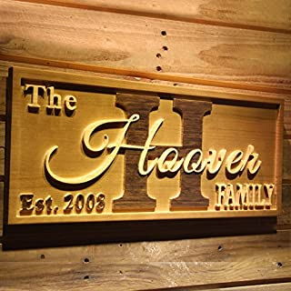 AdvPro Wood Custom wpa0369 Big Initial Family Name Personalized Anniversary with Established Year Gifts Wood Engraved Wooden Sign - Medium 46 cm x 18 cm