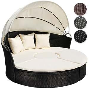 Miadomodo lit de jardin modulable en r sine tress e avec table basse et pare soleil 180 - Lit de jardin avec pare soleil ...