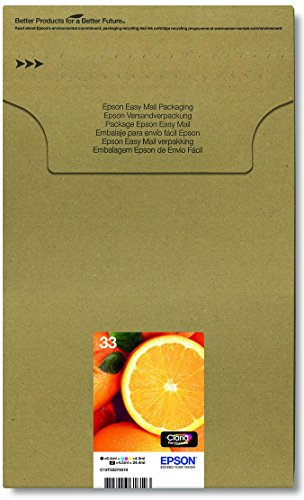 Kompatibel Cyan-box (Epson Original T3337 Orange, Claria Premium Tinte, Text- und Hochglanzfotodruck (Multipack 5-farbig) (CYMK + Photo-schwarz))